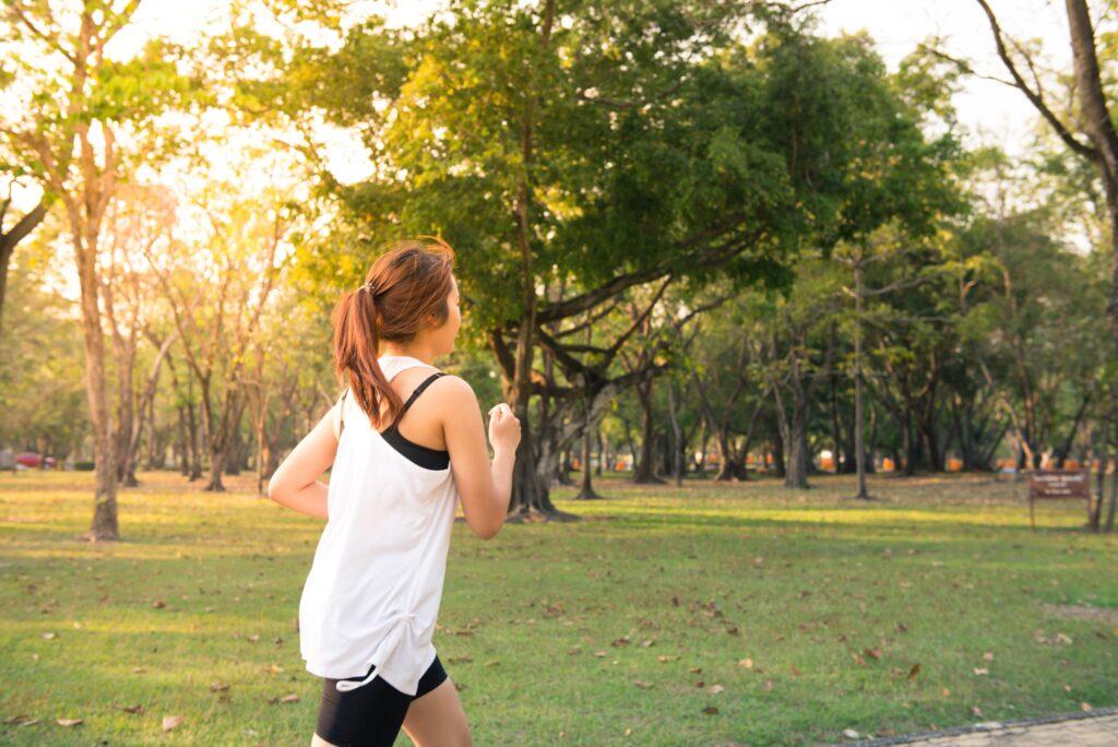 Running in the park for outdoor activities